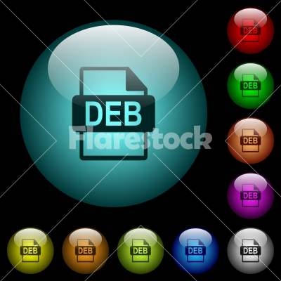 DEB file format icons in color illuminated glass buttons - DEB file format icons in color illuminated spherical glass buttons on black background. Can be used to black or dark templates
