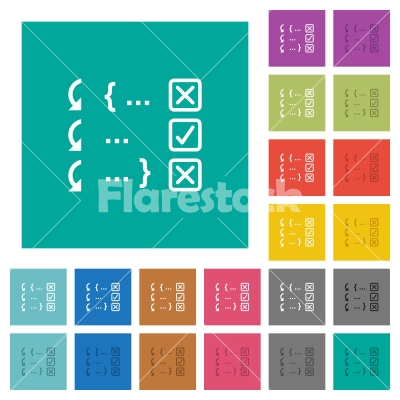 Debugging program square flat multi colored icons - Debugging program multi colored flat icons on plain square backgrounds. Included white and darker icon variations for hover or active effects.