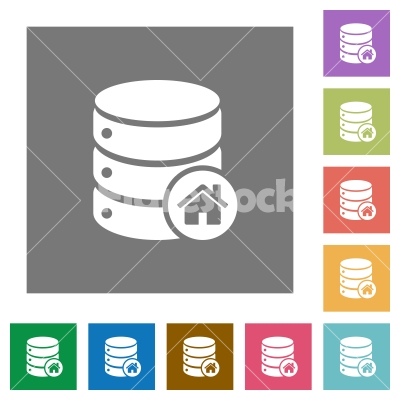 Default database square flat icons - Default database flat icons on simple color square backgrounds