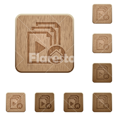 Default playlist wooden buttons - Default playlist on rounded square carved wooden button styles