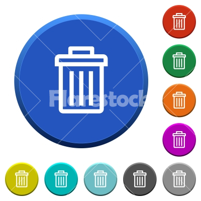 Delete beveled buttons - Delete round color beveled buttons with smooth surfaces and flat white icons - Free stock vector