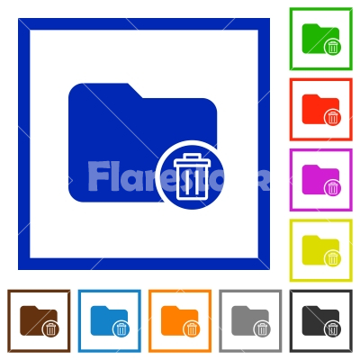 Delete directory flat framed icons - Delete directory flat color icons in square frames on white background