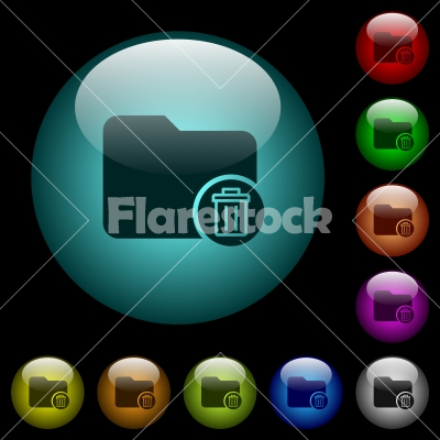 Delete directory icons in color illuminated glass buttons - Delete directory icons in color illuminated spherical glass buttons on black background. Can be used to black or dark templates