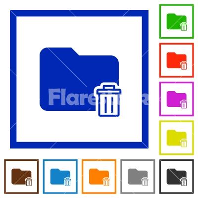 Delete folder framed flat icons - Set of color square framed Delete folder flat icons