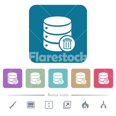 Delete from database flat icons on color rounded square backgrounds - Delete from database white flat icons on color rounded square backgrounds. 6 bonus icons included