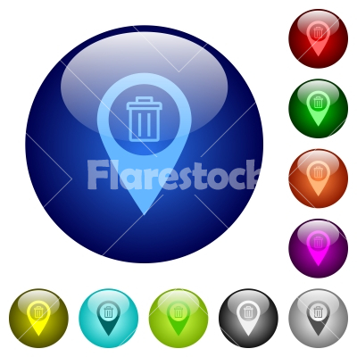 Delete GPS map location color glass buttons - Delete GPS map location icons on round color glass buttons