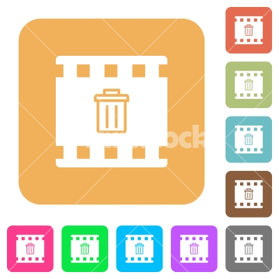 Delete movie rounded square flat icons - Delete movie flat icons on rounded square vivid color backgrounds.