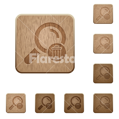 Delete search wooden buttons - Delete search on rounded square carved wooden button styles