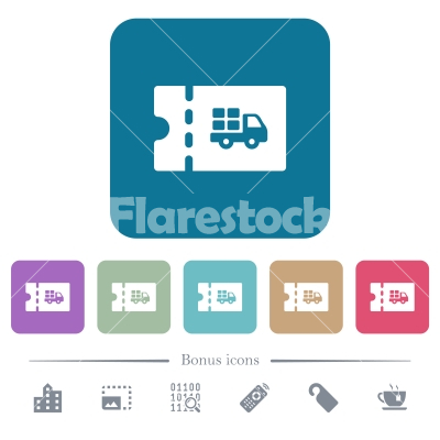 Delivery discount coupon flat icons on color rounded square backgrounds - Delivery discount coupon white flat icons on color rounded square backgrounds. 6 bonus icons included