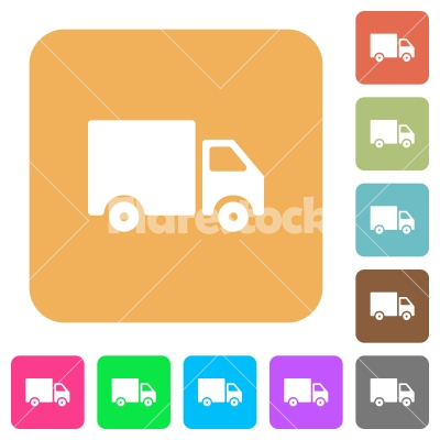Delivery Truck Rounded Square Flat Icons Stock Vector