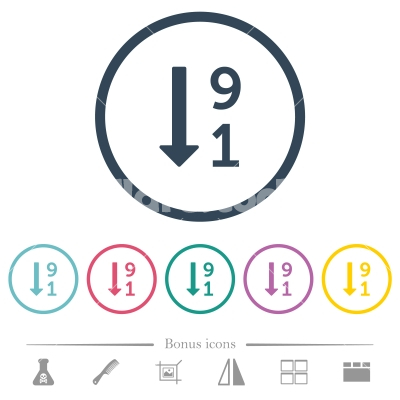 Descending numbered list flat color icons in round outlines - Descending numbered list flat color icons in round outlines. 6 bonus icons included.