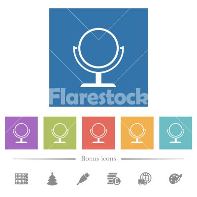 Desk mirror flat white icons in square backgrounds - Desk mirror flat white icons in square backgrounds. 6 bonus icons included.