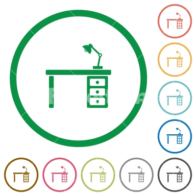 Desk with lamp flat icons with outlines - Desk with lamp flat color icons in round outlines on white background