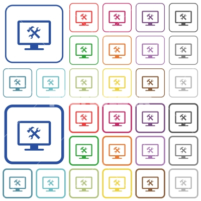 Desktop tools outlined flat color icons - Desktop tools color flat icons in rounded square frames. Thin and thick versions included.