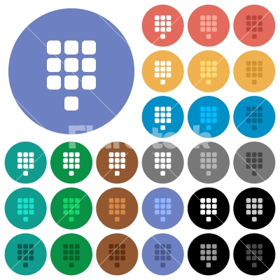 Dial pad round flat multi colored icons - Stock vector - Flarestock