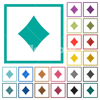 Diamond Card Symbol Flat Color Icons With Quadrant Frames Stock