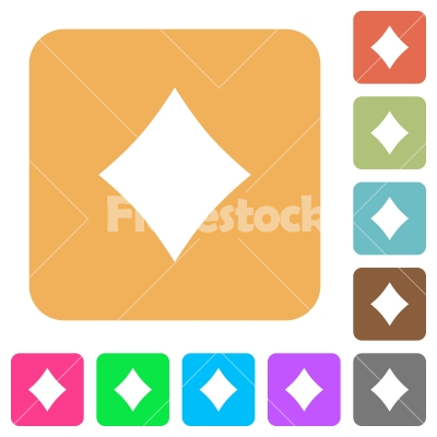 Diamond Card Symbol Rounded Square Flat Icons Stock Vector
