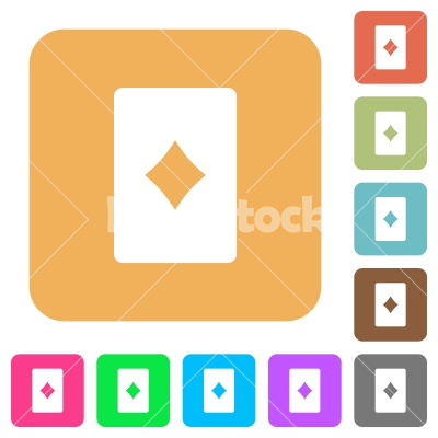 Diamond card symbol rounded square flat icons - Diamond card symbol flat icons on rounded square vivid color backgrounds.