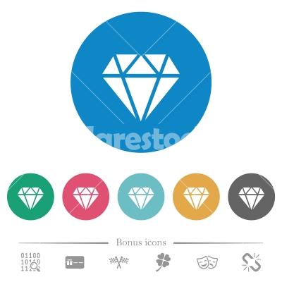 Diamond flat round icons - Diamond flat white icons on round color backgrounds. 6 bonus icons included.