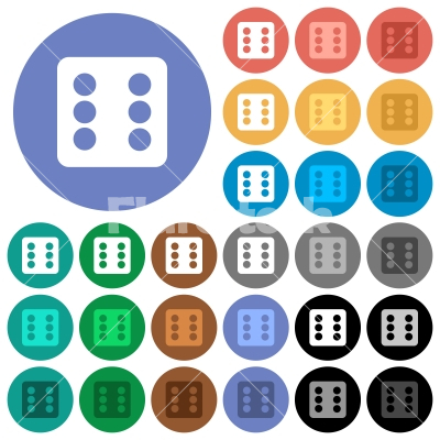 Dice six round flat multi colored icons - Dice six multi colored flat icons on round backgrounds. Included white, light and dark icon variations for hover and active status effects, and bonus shades.