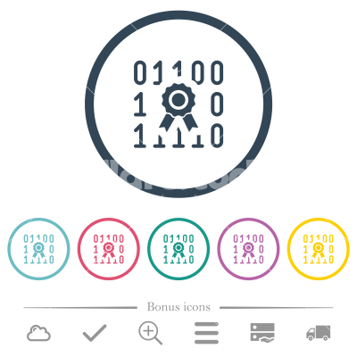 Digital certificate flat color icons in round outlines - Digital certificate flat color icons in round outlines. 6 bonus icons included.