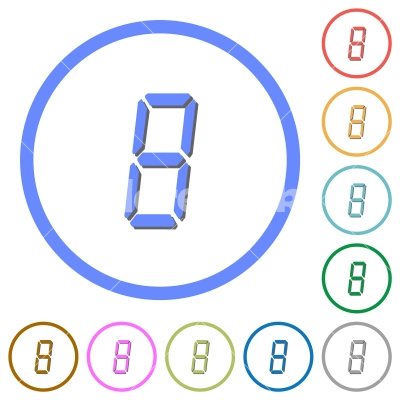 digital number eight of seven segment type icons with shadows and outlines - digital number eight of seven segment type flat color vector icons with shadows in round outlines on white background