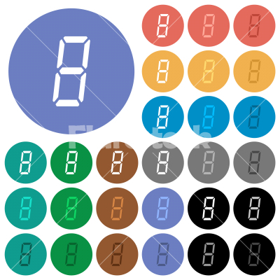 digital number eight of seven segment type round flat multi colored icons - digital number eight of seven segment type multi colored flat icons on round backgrounds. Included white, light and dark icon variations for hover and active status effects, and bonus shades.