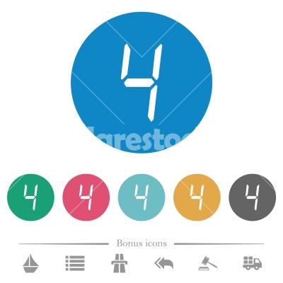 digital number four of seven segment type flat round icons - digital number four of seven segment type flat white icons on round color backgrounds. 6 bonus icons included.
