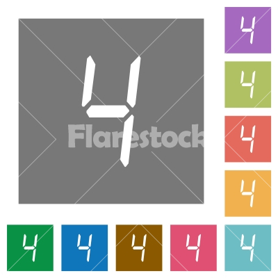 digital number four of seven segment type square flat icons - digital number four of seven segment type flat icons on simple color square backgrounds