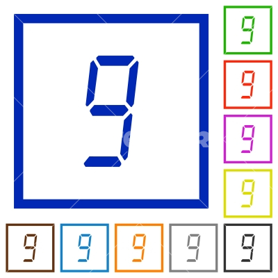 digital number nine of seven segment type flat framed icons - digital number nine of seven segment type flat color icons in square frames on white background