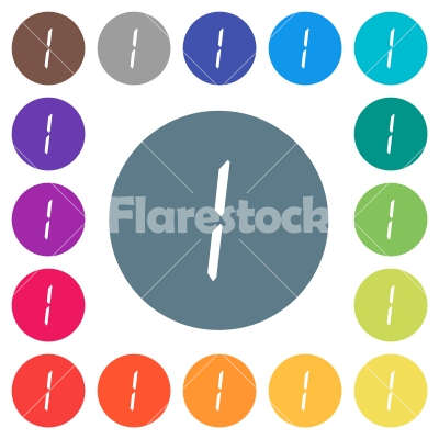 digital number one of seven segment type flat white icons on round color backgrounds - digital number one of seven segment type flat white icons on round color backgrounds. 17 background color variations are included.