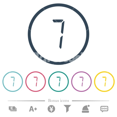 digital number seven of seven segment type flat color icons in round outlines - digital number seven of seven segment type flat color icons in round outlines. 6 bonus icons included.