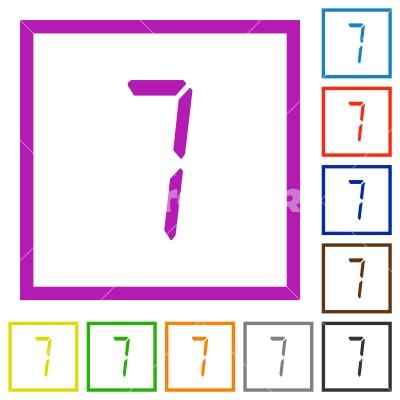 digital number seven of seven segment type flat framed icons - digital number seven of seven segment type flat color icons in square frames on white background