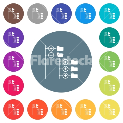 Directory browser flat white icons on round color backgrounds - Directory browser flat white icons on round color backgrounds. 17 background color variations are included.