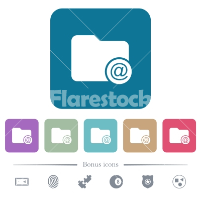Directory email flat icons on color rounded square backgrounds - Directory email white flat icons on color rounded square backgrounds. 6 bonus icons included