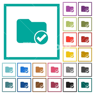 Directory ok flat color icons with quadrant frames - Directory ok flat color icons with quadrant frames on white background