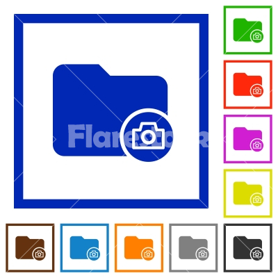 Directory snapshot flat framed icons - Directory snapshot flat color icons in square frames on white background