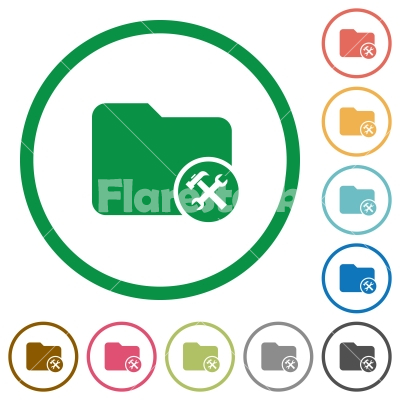 Directory tools flat icons with outlines - Directory tools flat color icons in round outlines on white background