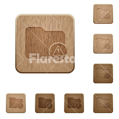 Directory warning wooden buttons - Directory warning on rounded square carved wooden button styles