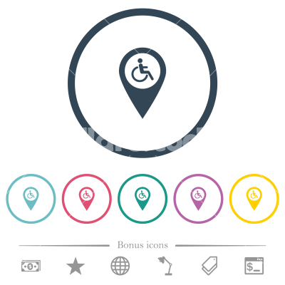 Disability accessibility GPS map location flat color icons in round outlines - Disability accessibility GPS map location flat color icons in round outlines. 6 bonus icons included.
