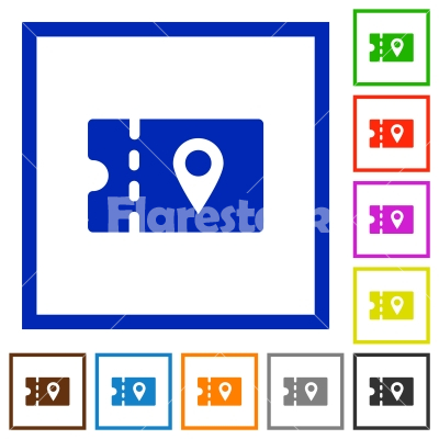 discount coupon location flat framed icons - discount coupon location flat color icons in square frames on white background