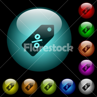 Discount price label icons in color illuminated glass buttons - Discount price label icons in color illuminated spherical glass buttons on black background. Can be used to black or dark templates