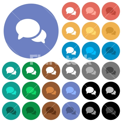 Discussion round flat multi colored icons - Discussion multi colored flat icons on round backgrounds. Included white, light and dark icon variations for hover and active status effects, and bonus shades.