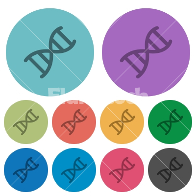 DNA molecule color darker flat icons - DNA molecule darker flat icons on color round background