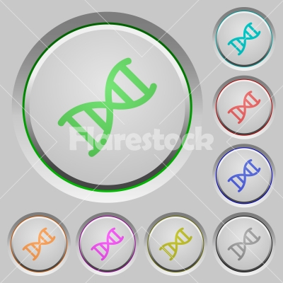 DNA molecule push buttons - DNA molecule color icons on sunk push buttons