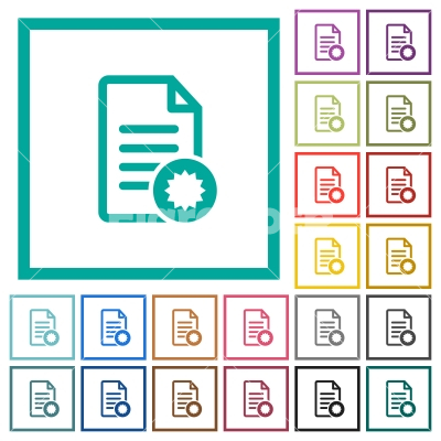 Document certificate flat color icons with quadrant frames - Document certificate flat color icons with quadrant frames on white background