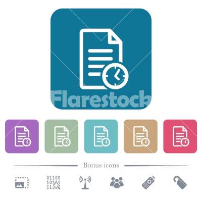 Document last modified time flat icons on color rounded square backgrounds - Document last modified time white flat icons on color rounded square backgrounds. 6 bonus icons included