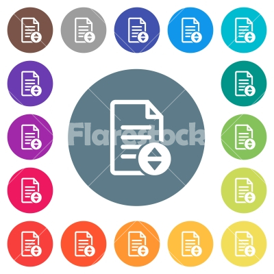 Document scrolling flat white icons on round color backgrounds - Document scrolling flat white icons on round color backgrounds. 17 background color variations are included.