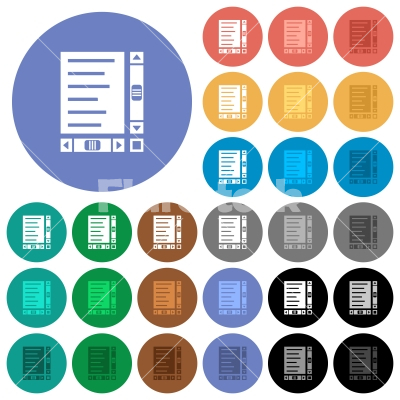 Document with content and scroll bars round flat multi colored icons - Document with content and scroll bars multi colored flat icons on round backgrounds. Included white, light and dark icon variations for hover and active status effects, and bonus shades.
