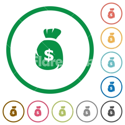 Dollar bag outlined flat icons - Set of Dollar bag color round outlined flat icons on white background
